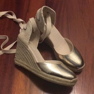 Soludos Gold Tall Wedge Espadrille size 7